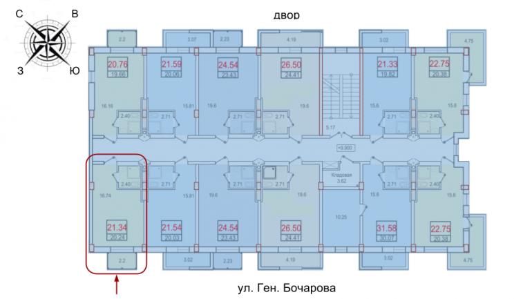 ЖК Смарт Однокомнатная 20,24 Расположение на этаже