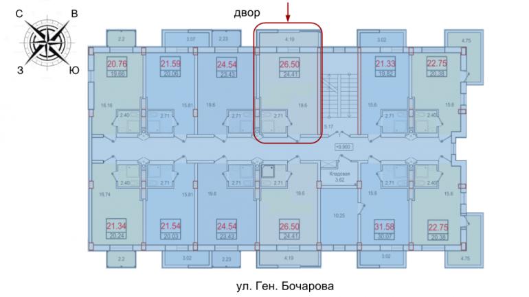 ЖК Смарт Однокомнатная 24,41 Расположение на этаже
