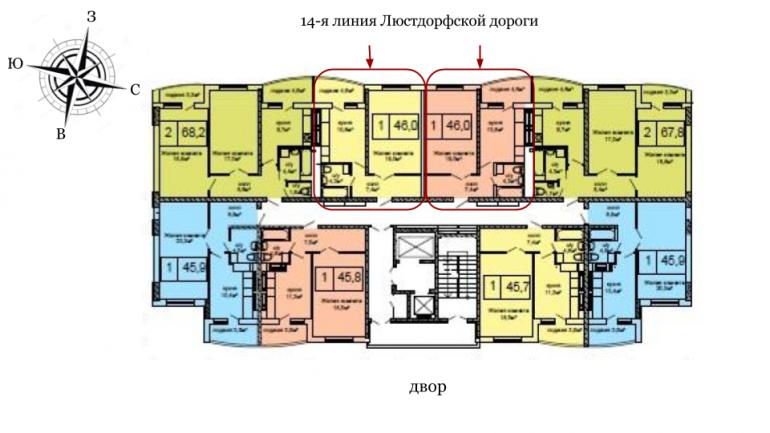 45,9 кв.м ЖК Вернисаж Дом 6 Сек 6 Однокомнатная Расположение на этаже