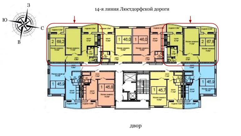 ЖК Вернисаж Дом 6 Сек 6 Двухкомнатная 67,8 Расположение на этаже