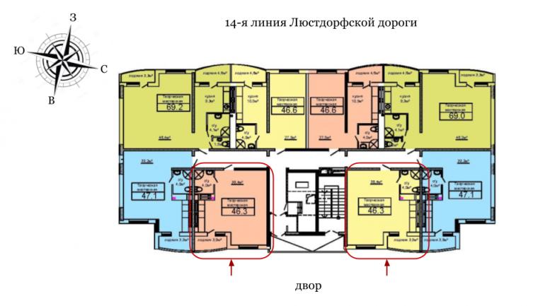 46,5 кв.м ЖК Вернисаж Дом 6 /6 секция Расположение на этаже