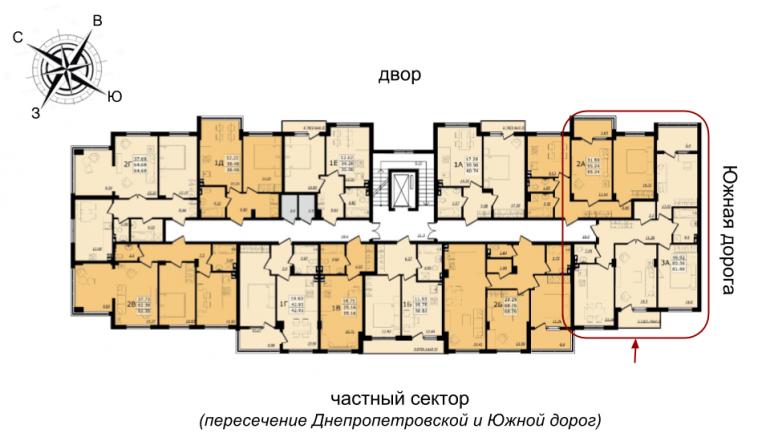 ЖК Золотая Эра Дом №7 трехкомнатная 81,59 кв.м Расположение на этаже