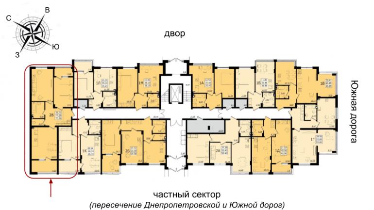 ЖК Золотая Эра Дом 6 Двухкомнатная 77,26 кв.м Расположение на этаже