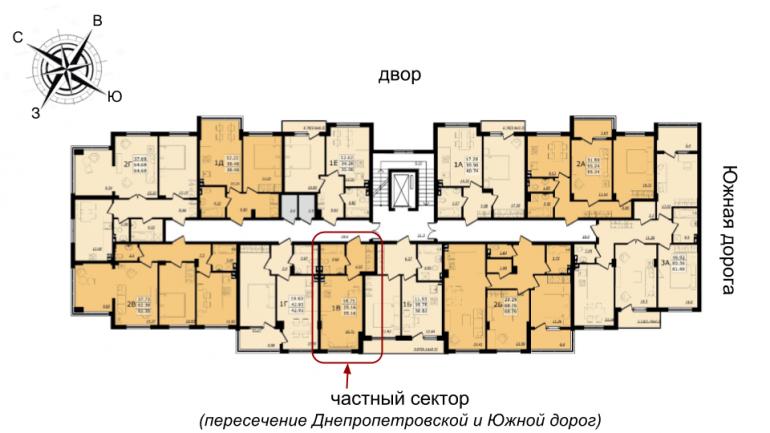 ЖК Золотая Эра Дом №7 Однокомнатная 25,16 кв.м Расположение на этаже