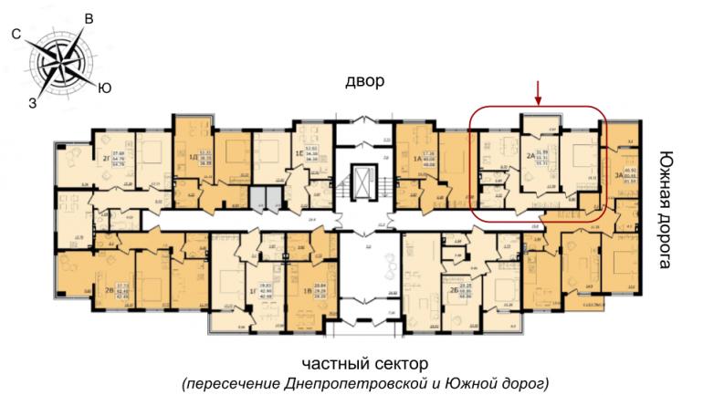 ЖК Золотая Эра Дом №7 Двухкомнатная 55,31 кв.м расположение на этаже