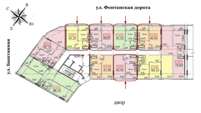 41,03 кв.м. 31 Жемчужина Однокомнатная Расположение на этаже