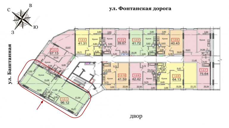 31 Жемчужина Трехкомнатная 96,12 Расположение на этаже