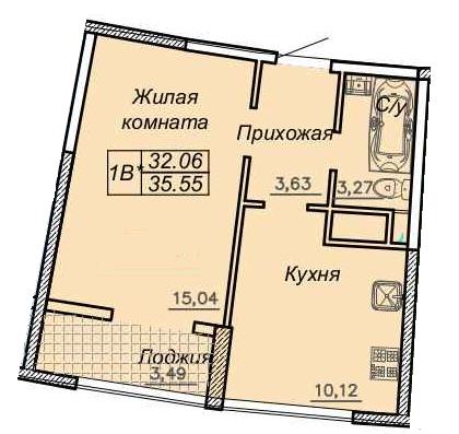 Однокомнатная - ЖК 27 Жемчужина$41407Площадь:35,3m²