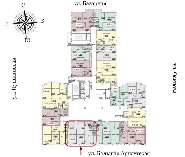 18 жемчужина Двухкомнатная 98,2 Расположение на этаже
