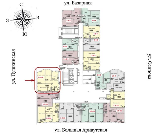 18 Жемчужина трехкомнатная 112 Расположение на этаже