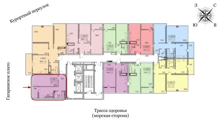 19 жемчужина Однокомнатная 48,6 Расположение на этаже