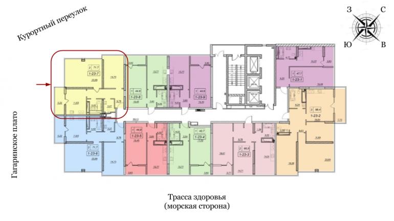 19 жемчужина 74,5 Двухкомнатная расположение на этаже