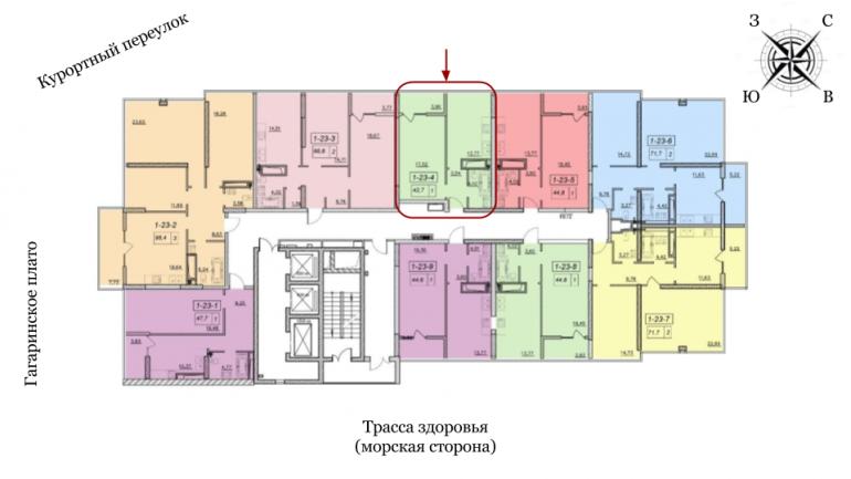 19 Жемчужина Однокомнатная 43,6 Расположение на этаже