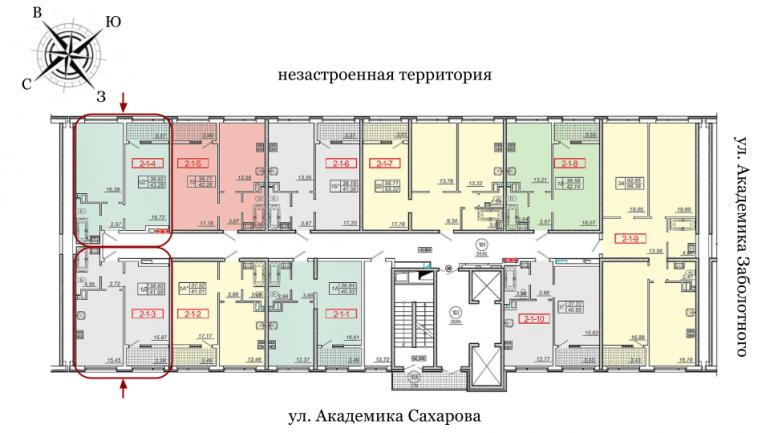 20 жемчужина Однокомнатная 43,6 Расположение на этаже