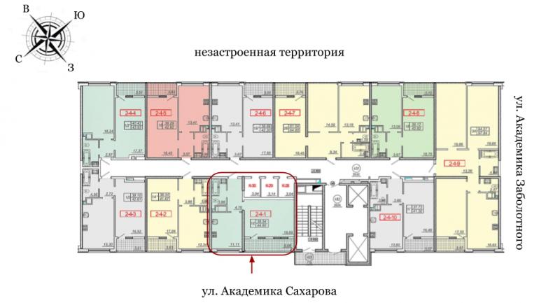 20 Жемчужина Однокомнатная 46,1 Расположение на этаже