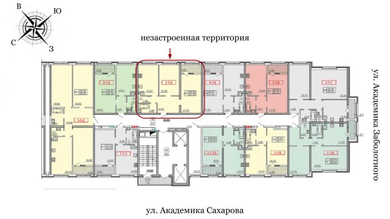 20 Жемчужина Двухкомнатная 64,3 Расположение на этаже