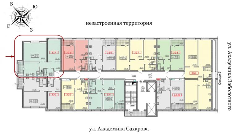 20 жемчужина Двухкомнатная 67,5 Расположение на этаже