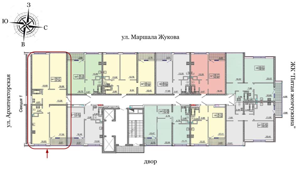 21 жемчужина Трехкомнатная 95,5 Расположение на этаже