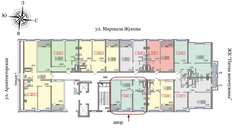 21 Жемчужина Двухкомнатная 54,5 Расположение на этаже