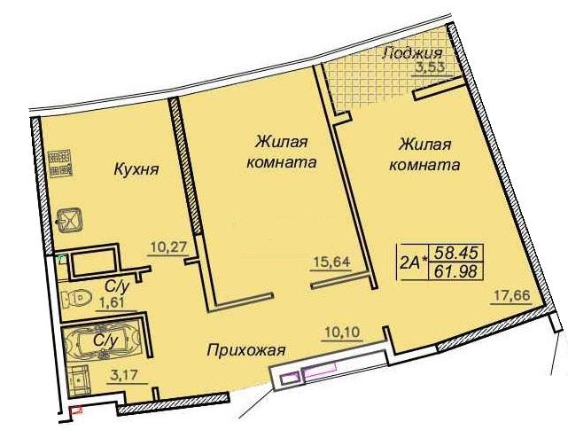 Двухкомнатная - ЖК 27 Жемчужина$67324Площадь:62,51m²