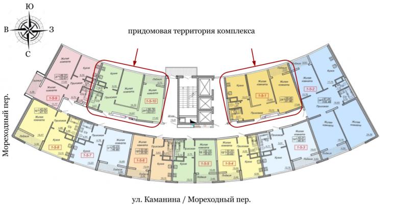 27 Жемчужина Двухкомнатная 62,51 Расположение на этаже
