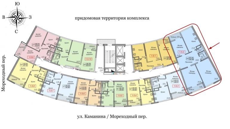 27 Жемчужина Трехкомнатная 105,46 Расположение на этаже