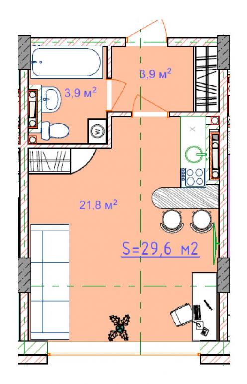 ЖК Таировские сады 2ПК Смарт-квартира 29,6 Планировка