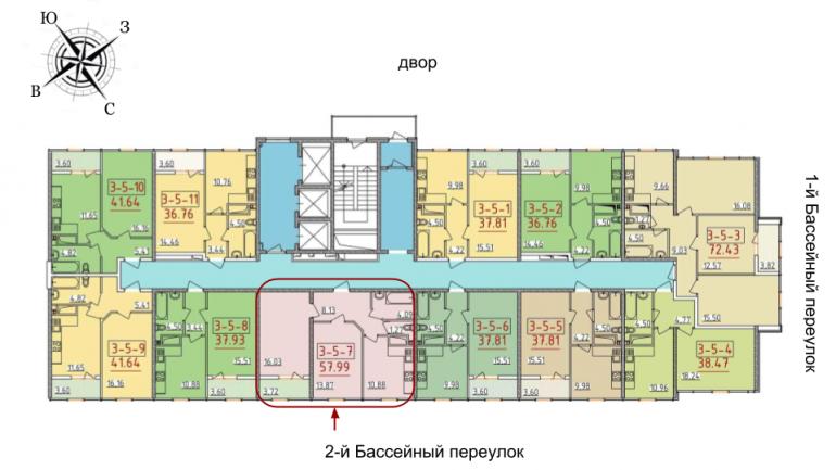 34 жемчужина Двухкомнатная 57,99 Расположение на этаже