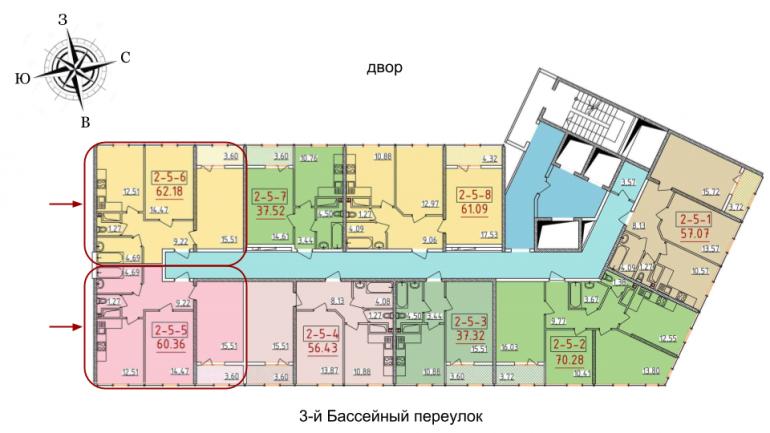 34 жемчужина Двухкомнатная 60,36 Расположение на этаже