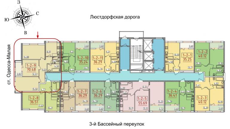 34 жемчужина Трехкомнатная 70,48 Расположение на этаже