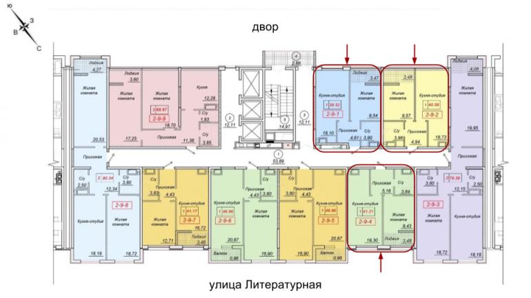 35 жемчужина Однокомнатная 40,58 Расположение на этаже