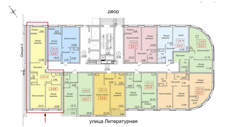35 Жемчужина Двухкомнатная 67,97 Расположение на этаже