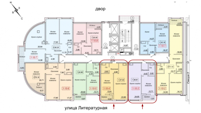 35 жемчужина Однокомнатная 47,02 Расположение на этаже