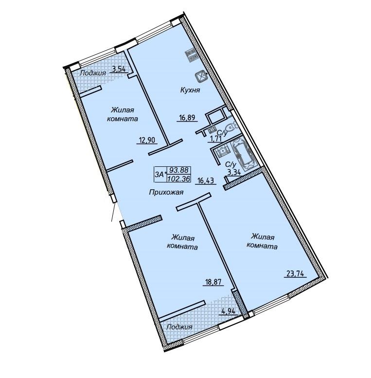 Трехкомнатная - ЖК 27 Жемчужина$124178Площадь:105,46m²