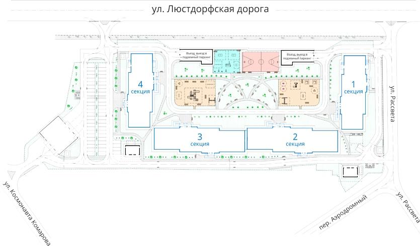 ЖК Альтаир-2 План застройки и благоустройства территории