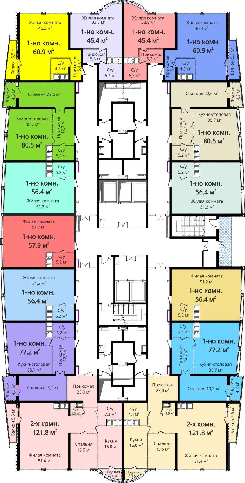 ЖК Новый берег / План 14 этажа