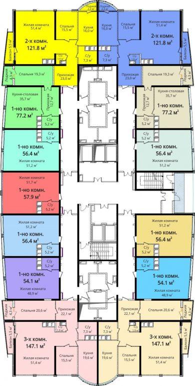 ЖК Новый берег / План 15-25 этажей