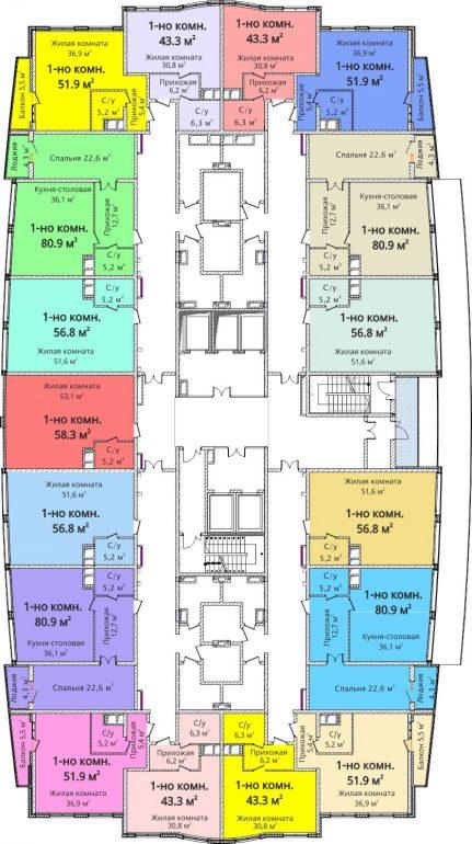 ЖК Новый берег / План 2-3 этажей