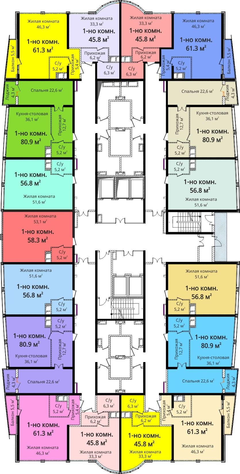 ЖК Новый берег / План 4-8 этажей