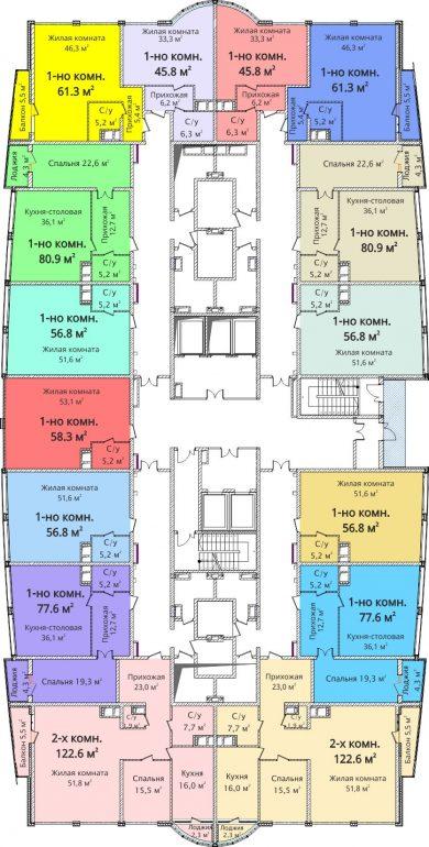 ЖК Новый берег / План 9-13 этажей