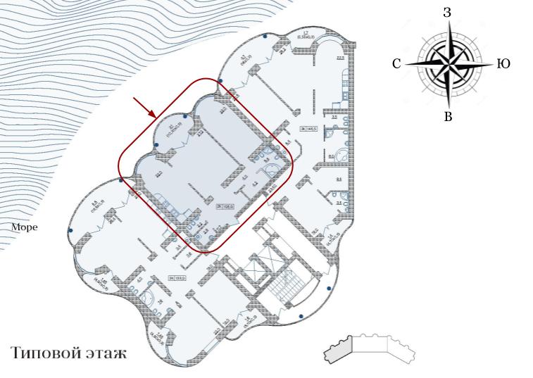 ЖК Французский бульвар 29 Двухкомнатная 105 Расположение на этаже
