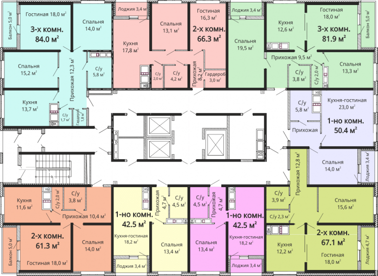 ЖК Омега / Секция №1 / План 14-21 этажей