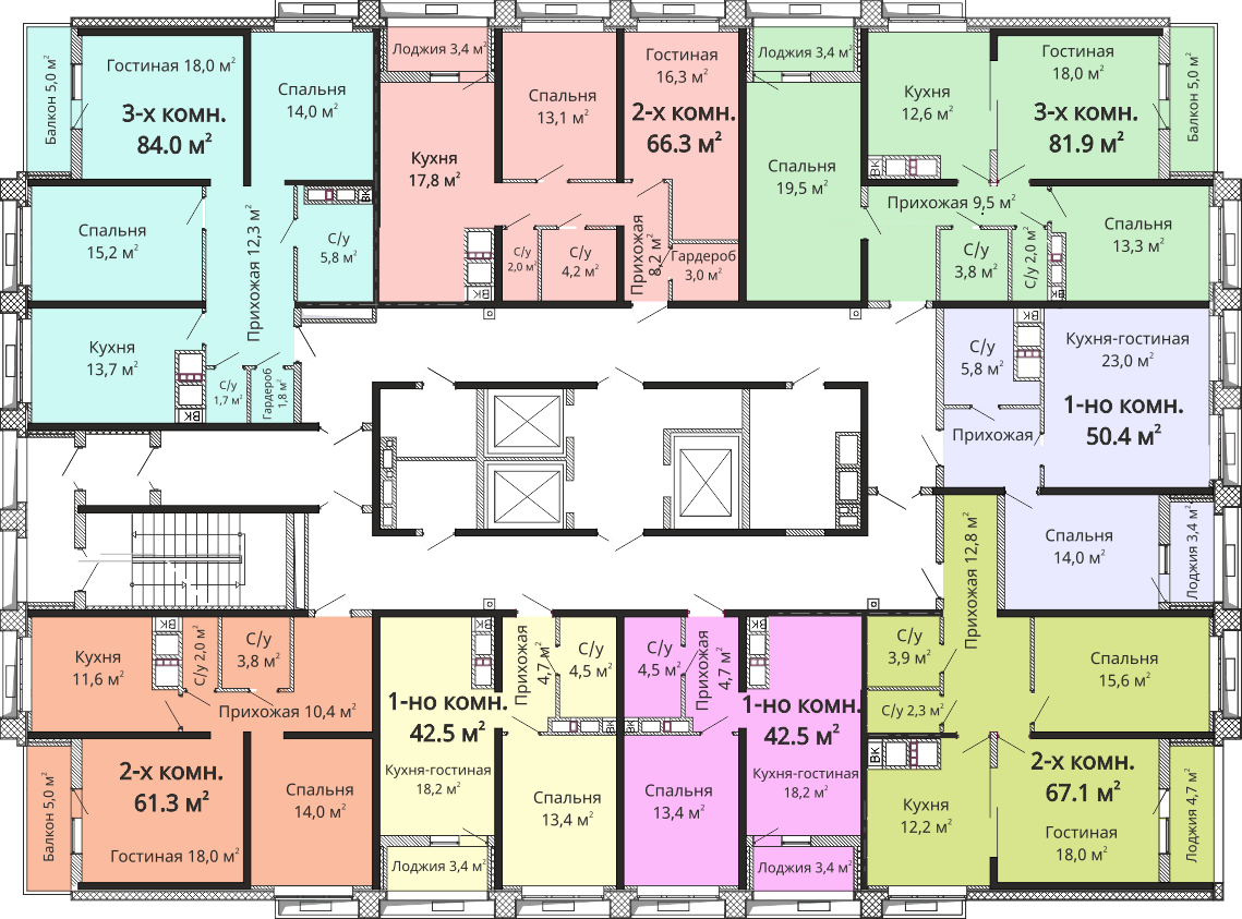 ЖК Омега / Секция №1 / План 22-24 этажей