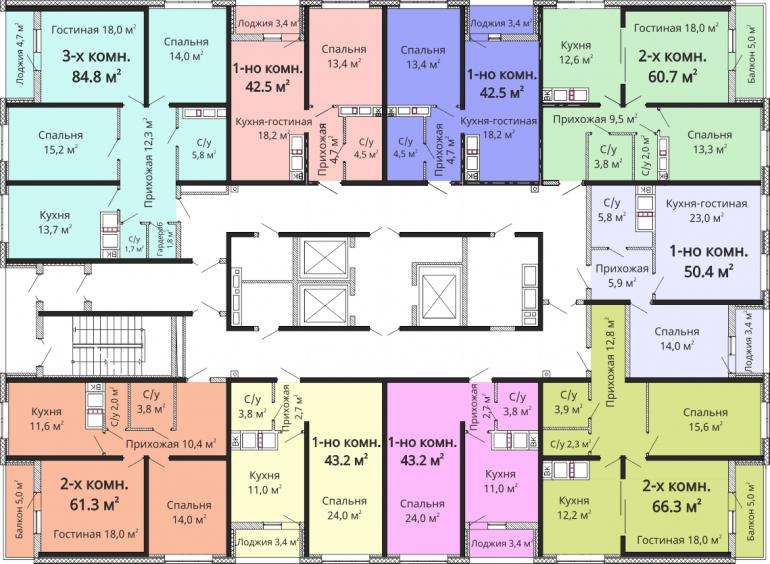 ЖК Омега / Секция №2 / План 14-21 этажей