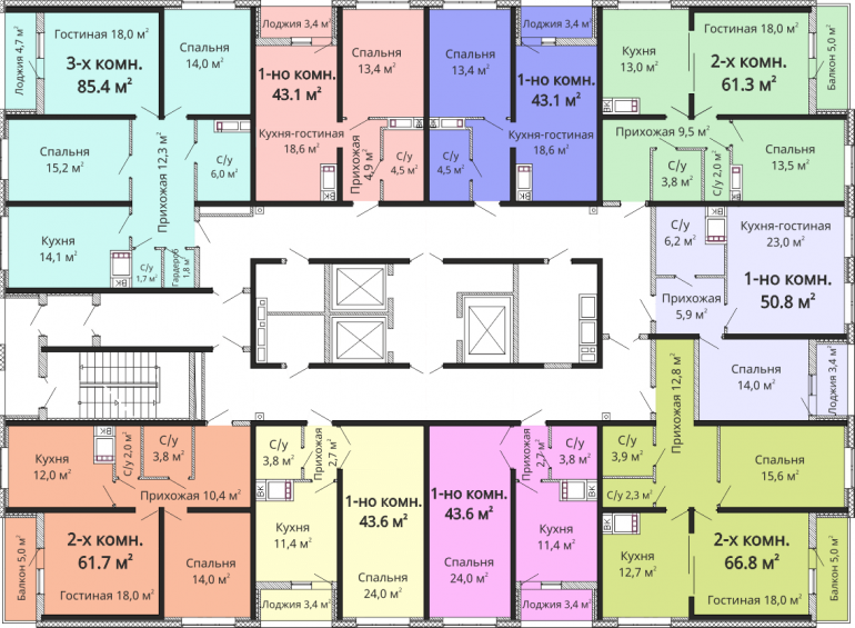 ЖК Омега / Секция №2 / План 2-13 этажей