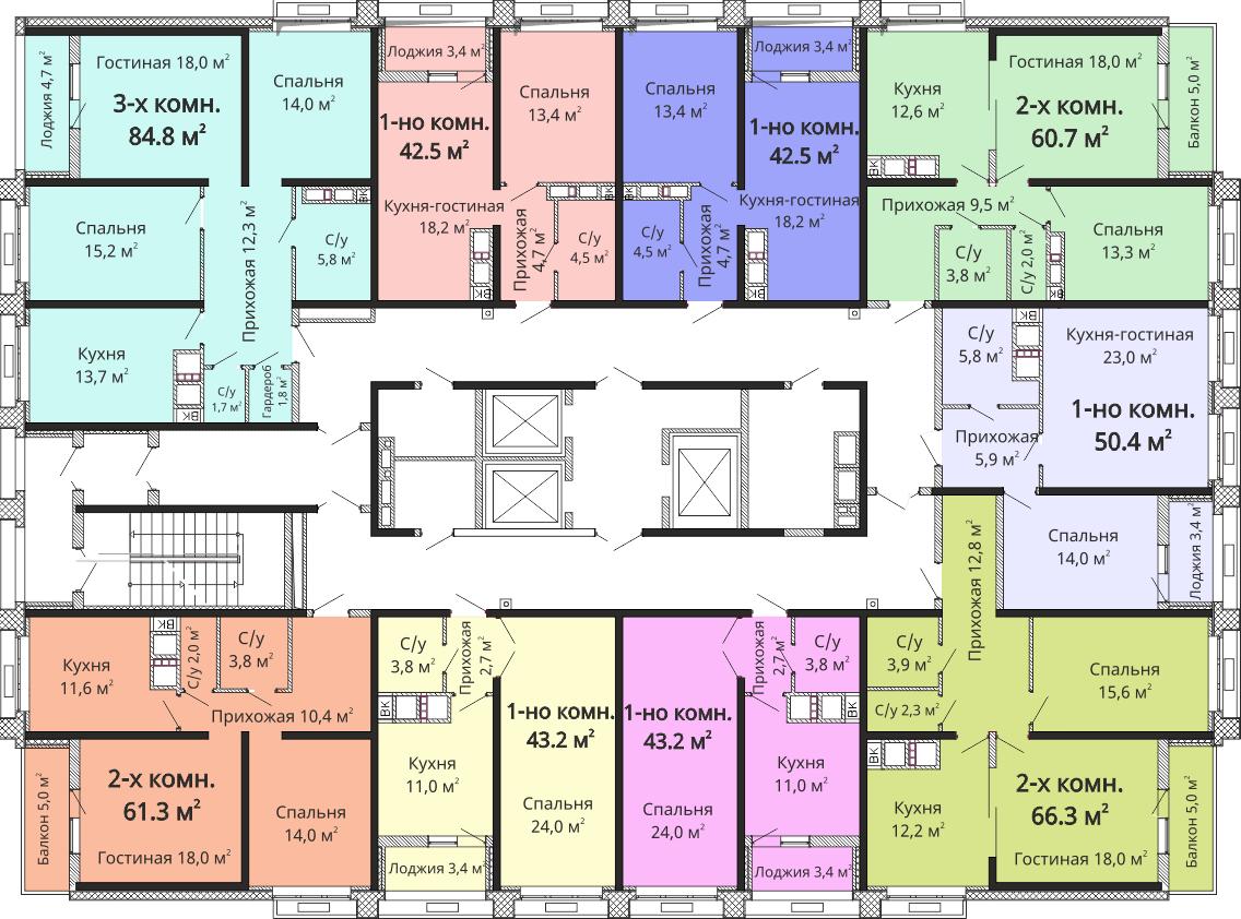 ЖК Омега / Секция №2 / План 22-24 этажей