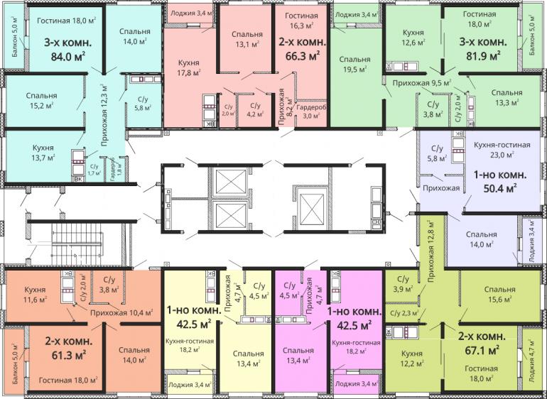 ЖК Омега / Секция №3 / План 14-21 этажей