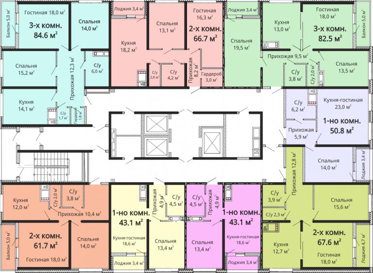 ЖК Омега / Секция №3 / План 2-13 этажей