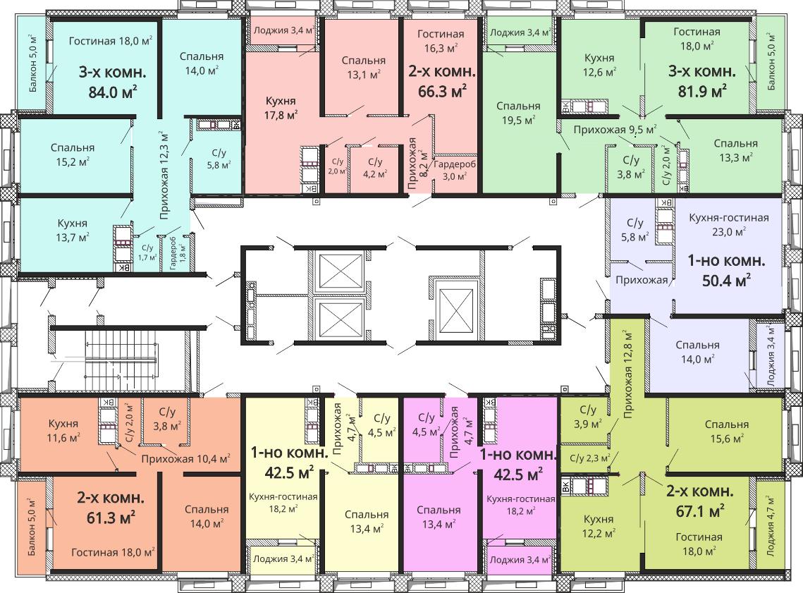 ЖК Омега / Секция №3 / План 22-24 этажей