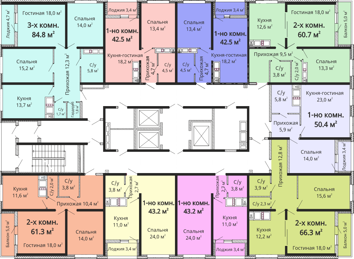 ЖК Омега / Секция №4 / План 14-21 этажей